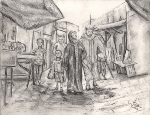 """<a href= """"http://trailsofpaint.com/a-road-well-traveled/""""><i>A Road Well Traveled</i></a> - graphite and charcoal on paper"""