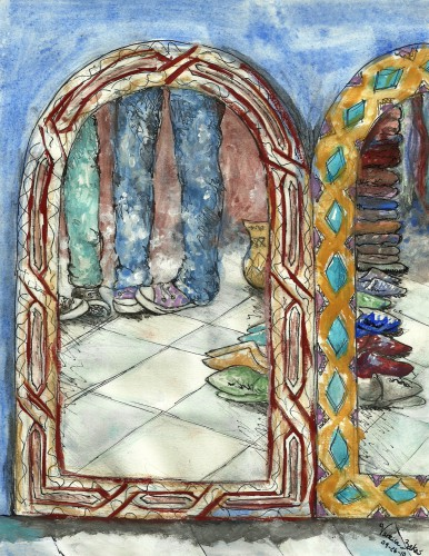 "<a href=""http://trailsofpaint.com/cultural-reflection/""><i>Cultural Reflection</i></a> - watercolor on paper"