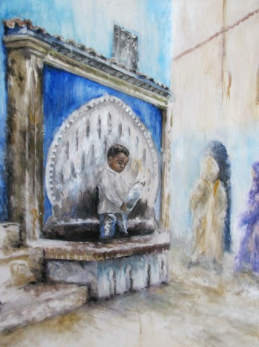 <i>At the Fountain</i> - acrylic on canvas