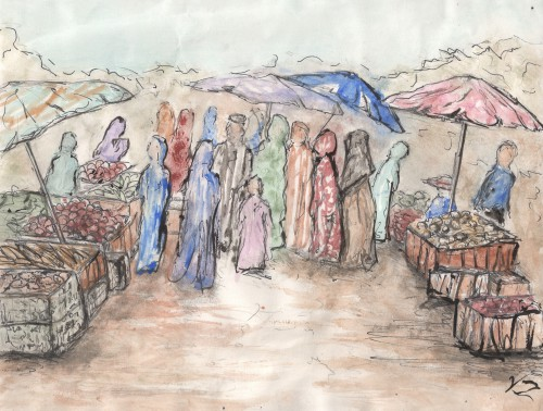 """<a href=""""http://trailsofpaint.com/market-day-at-the-souk/><i>Market Day</i></a> - watercolor on paper"""