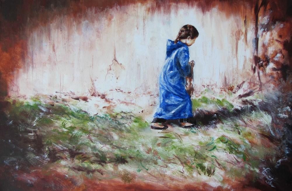 "<a href=""http://trailsofpaint.com/little-djellaba/><i>Little Djellaba<i></a> - acrylic on canvas"