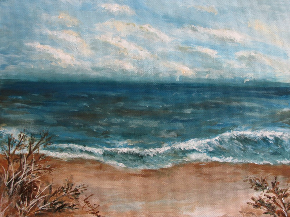 "<a href=""http://trailsofpaint.com/salisbury-beach-magic-window/""><i>The Calm Before the Storm</i></a> - acrylic on canvas board"