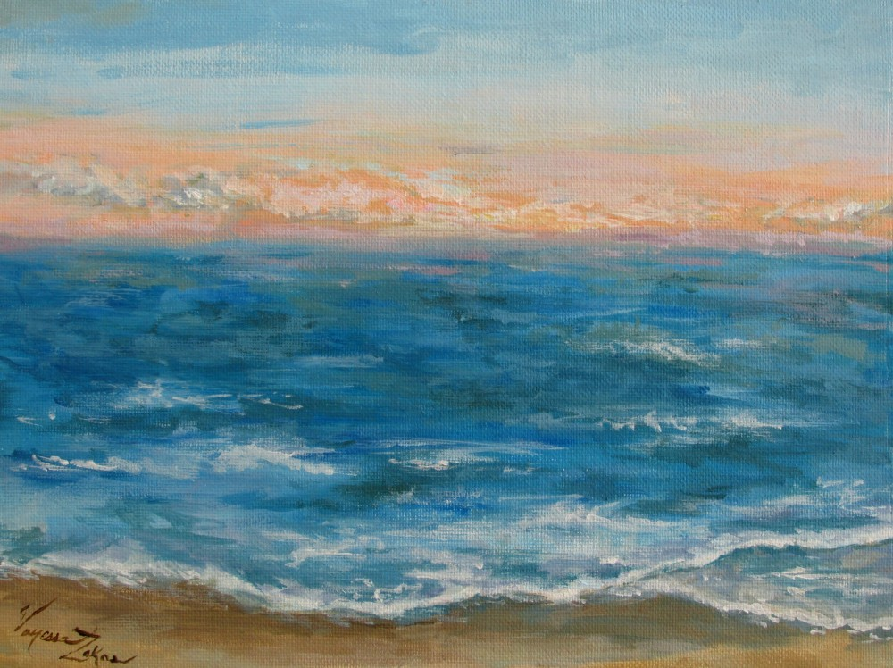 "<a href=""http://trailsofpaint.com/salisbury-beach-magic-window/""><i>Winter Sunrise</i></a> - acrylic on canvas board"