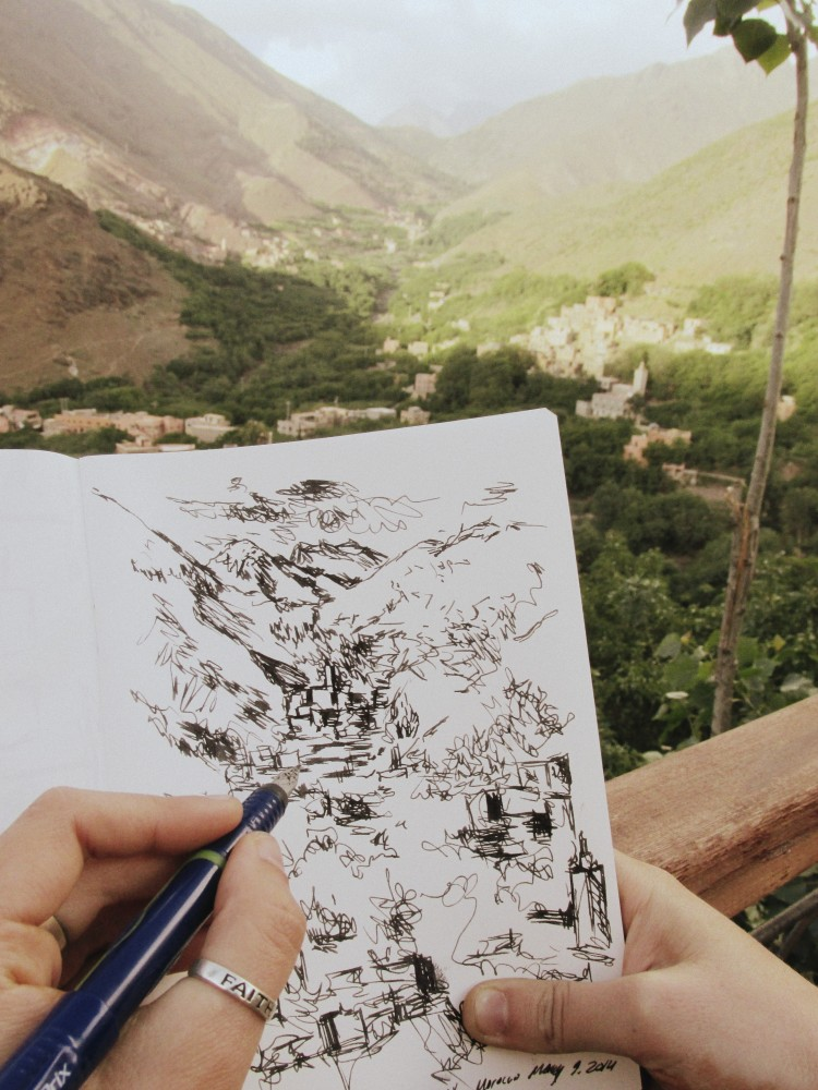 Sketching in Imlil, Morocco