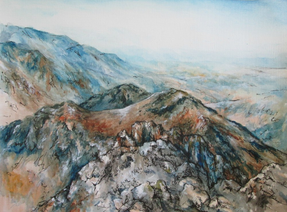 "<a href=""http://trailsofpaint.com/earth-to-heaven-mt-toubkal/""><i>Mt Toubkal</i></a> - watercolor on paper"