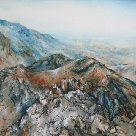 "<a href=""http://trailsofpaint.com/earth-to-heaven-mt-toubkal/""><i>Mt Toubkal</i></a> - watercolor on paper"