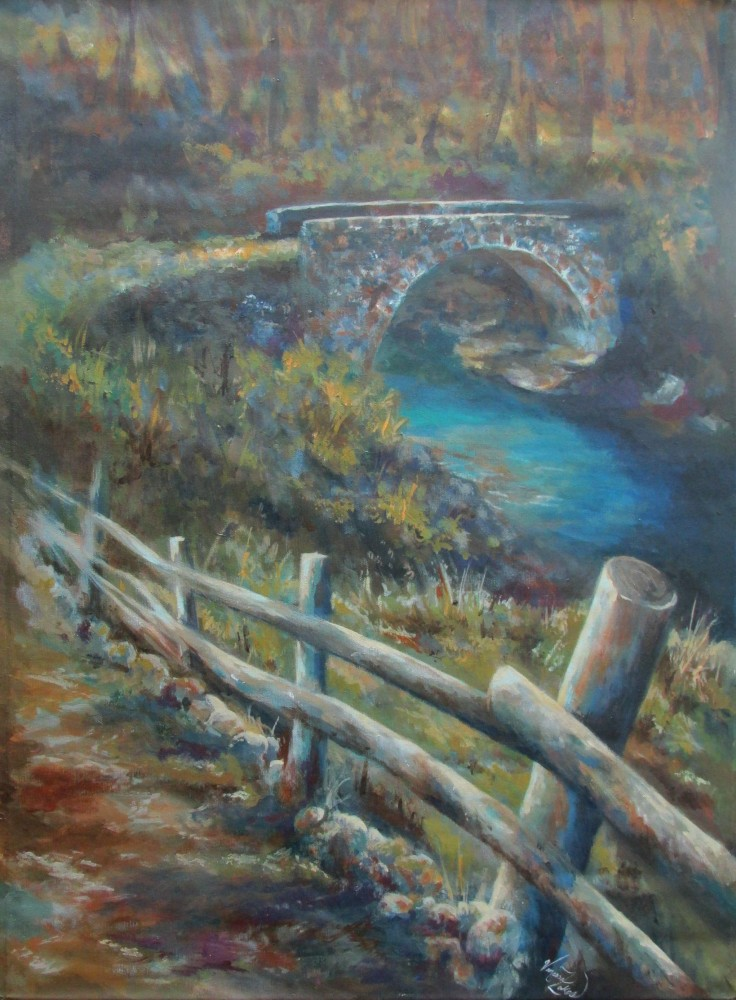 "<a href=""http://trailsofpaint.com/forgotten-bridge/""><i>The Forgotten Bridge</i></a> - acrylic on canvas"