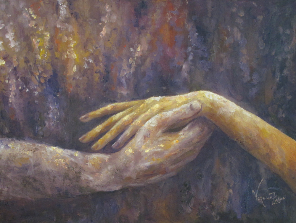 "<a href=""http://trailsofpaint.com/jennas-hands/""><i>Jenna's Hands</i></a> - oil on canvas"