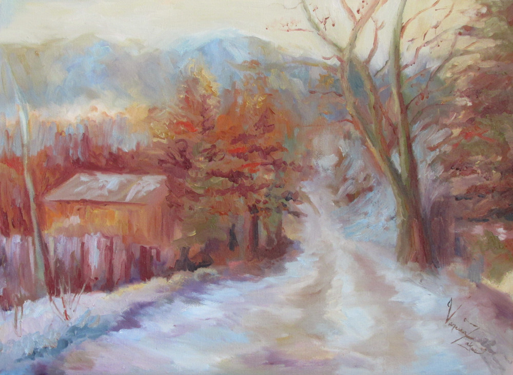 "<a href=""http://trailsofpaint.com/unknown-winter/""><i>The Unknown Winter</i></a> - oil on canvas"